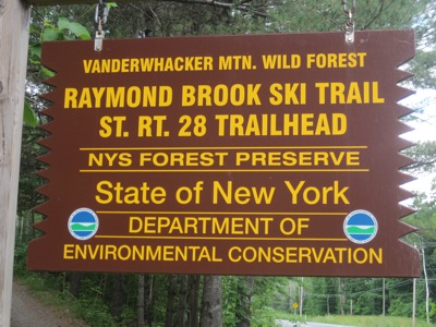 Raymond Brook trailhead sign