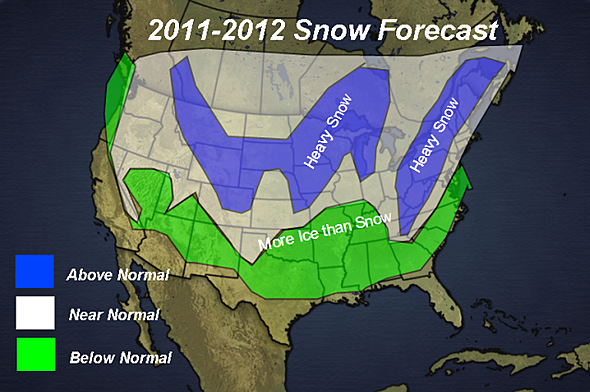 Snowfall Forecast Map for 2011 - 2012.
