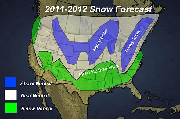 Snowfall Forecast Map for 2011 - 2012.