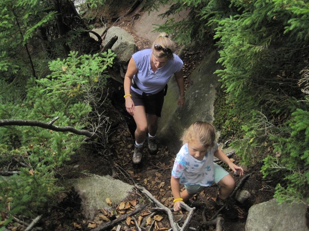 cracks in the boulders
