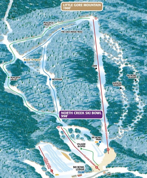 North Creek Ski Bowl trail map.