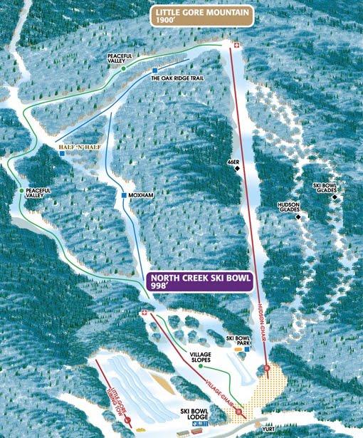 North Creek Ski Bowl trail map.