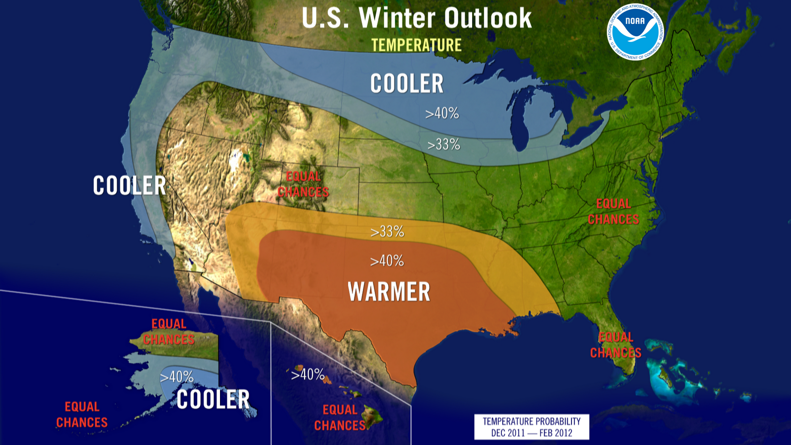 NWS NOAA Winter Temperature Outlook.