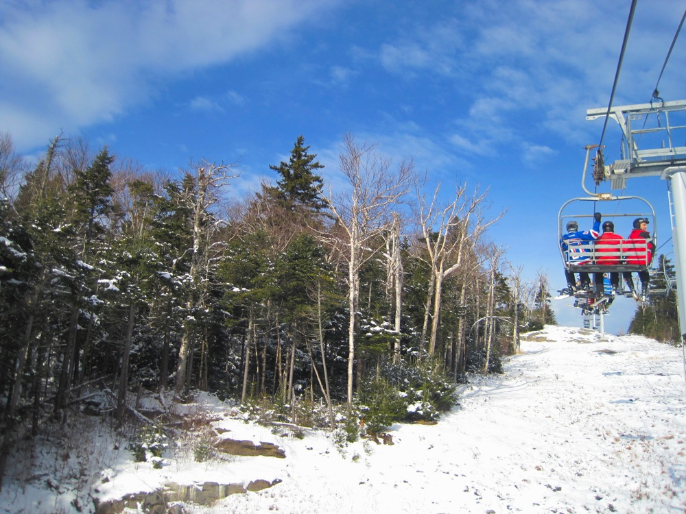 skiing in the sun