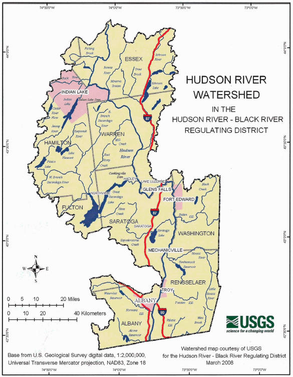Upper Hudson River Watershed Map.