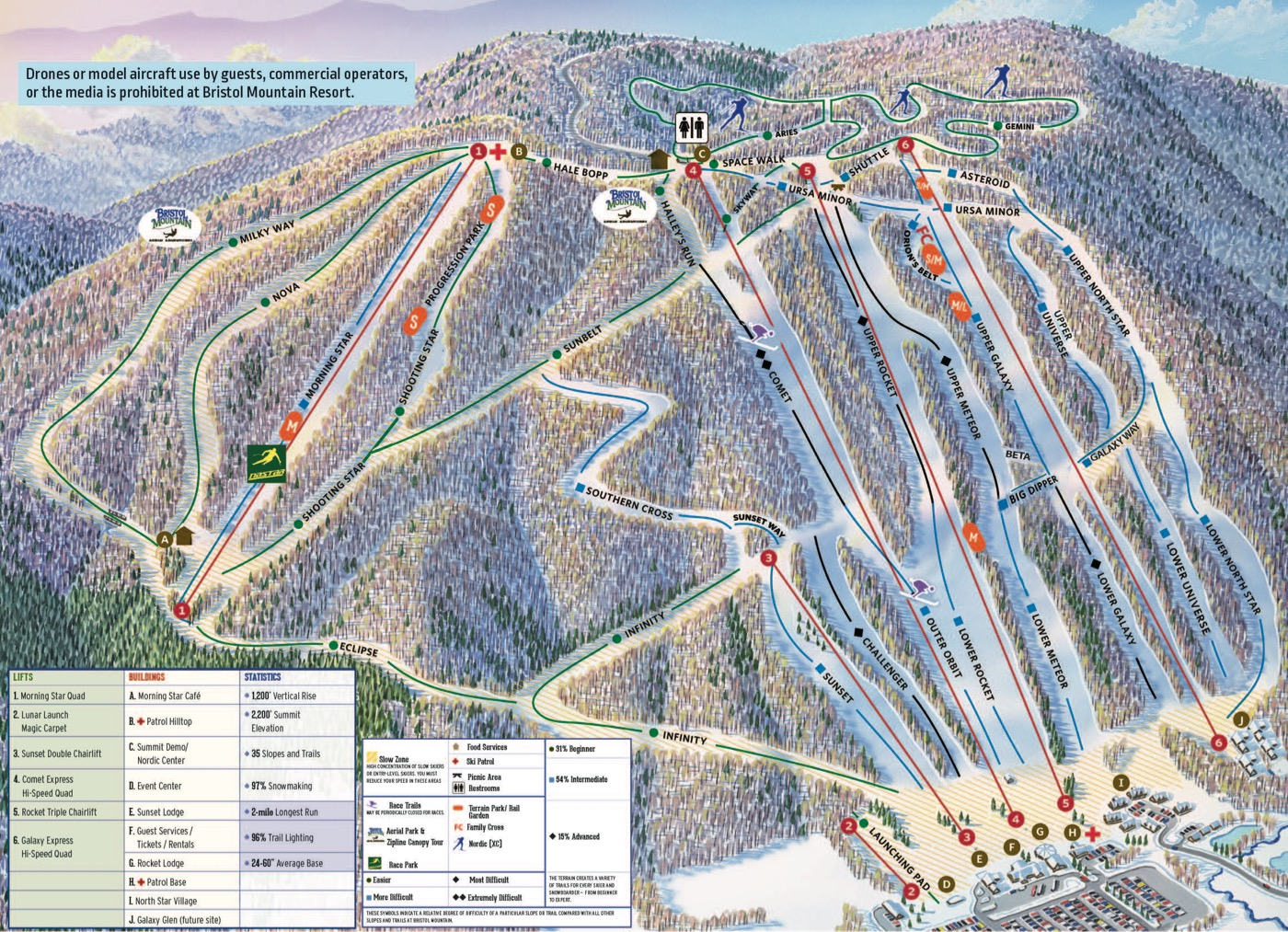 Bristol Mountain trail map