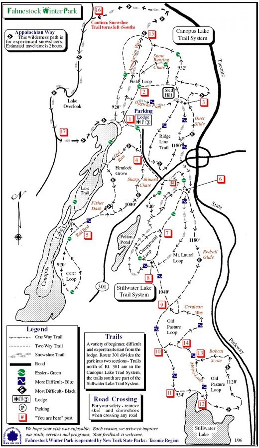 Fahnestock Winter Park trail map