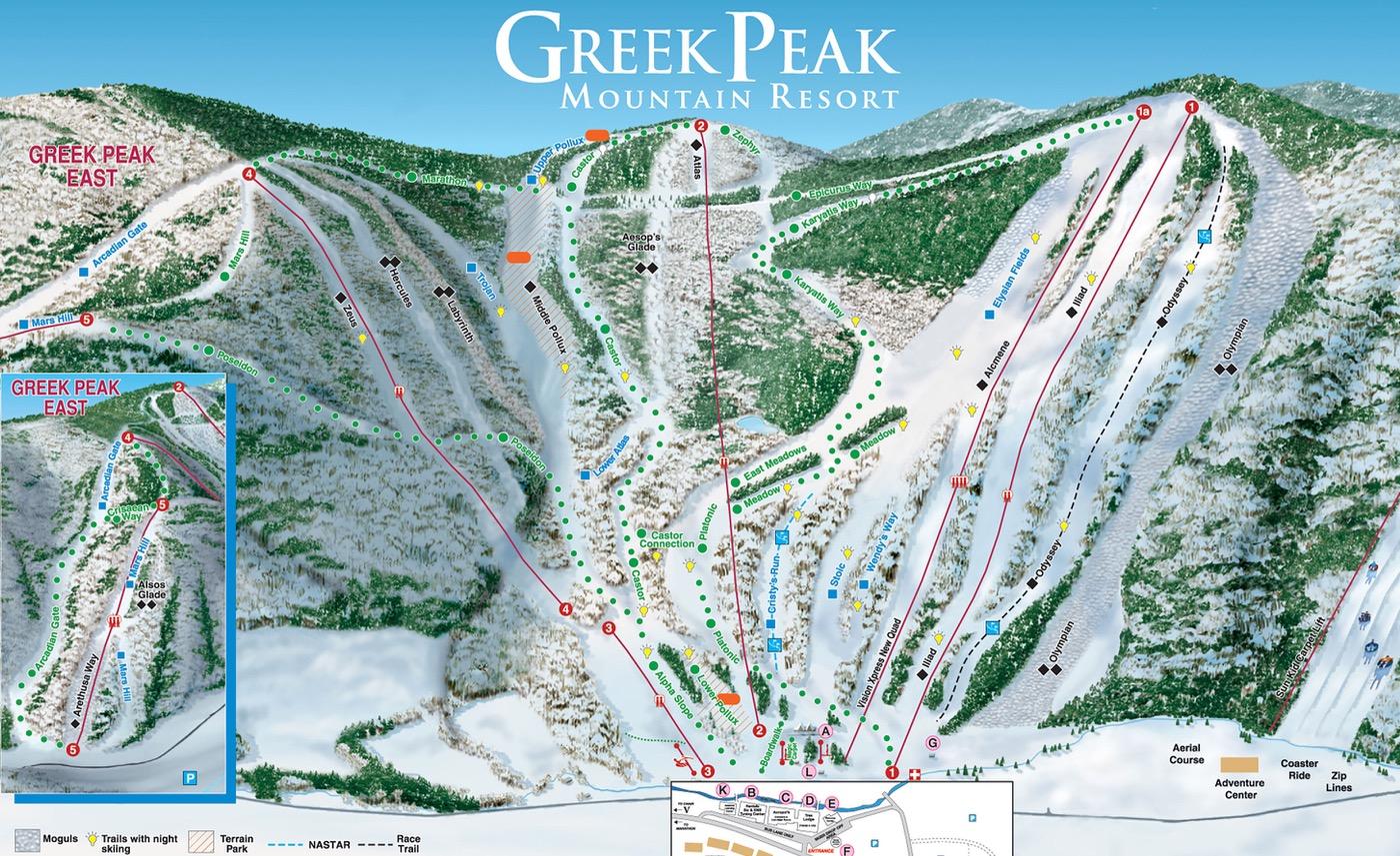 Greek Peak trail map