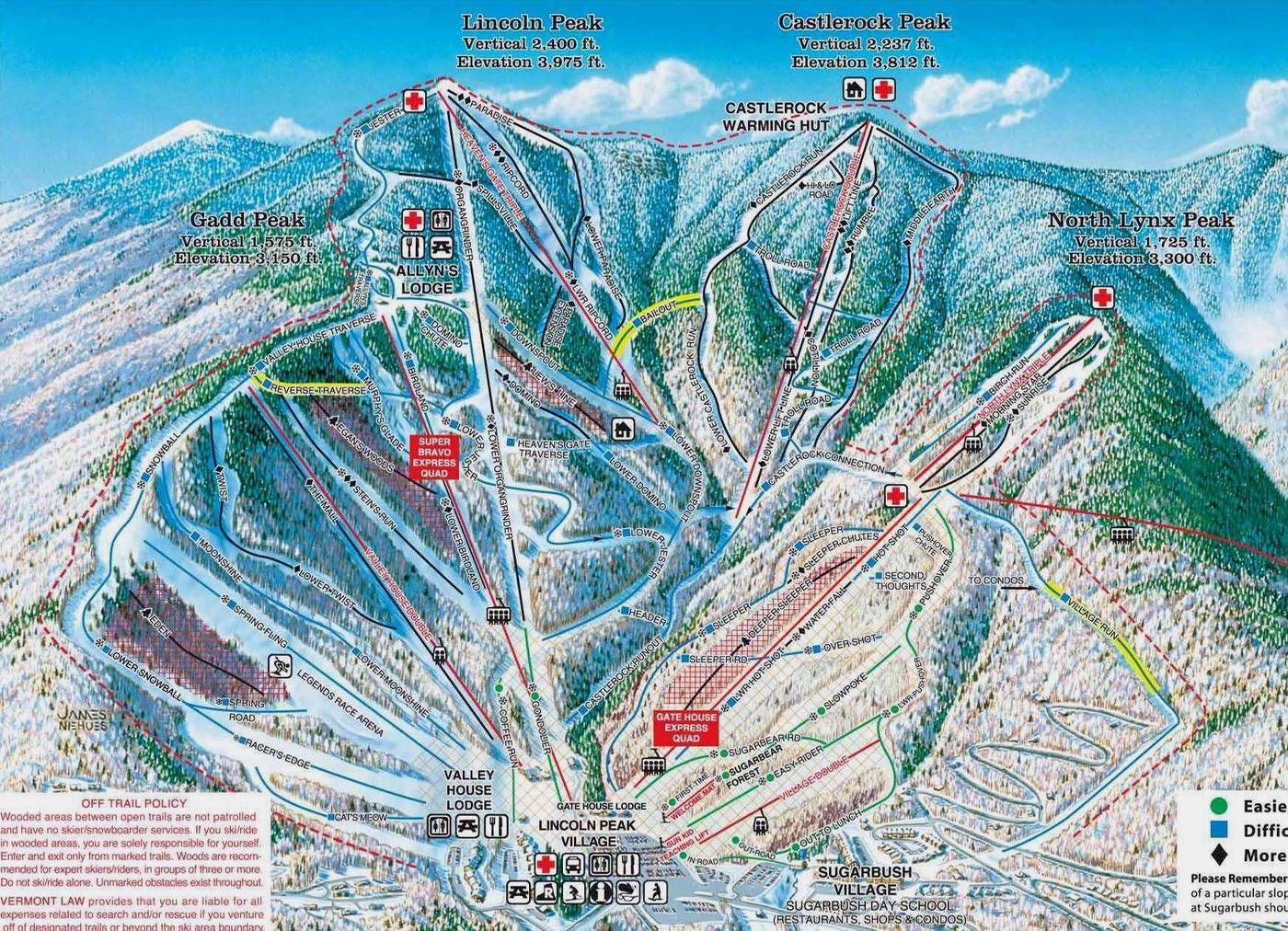 Sugarbush Resort trail map Lincoln Peak Castlerock