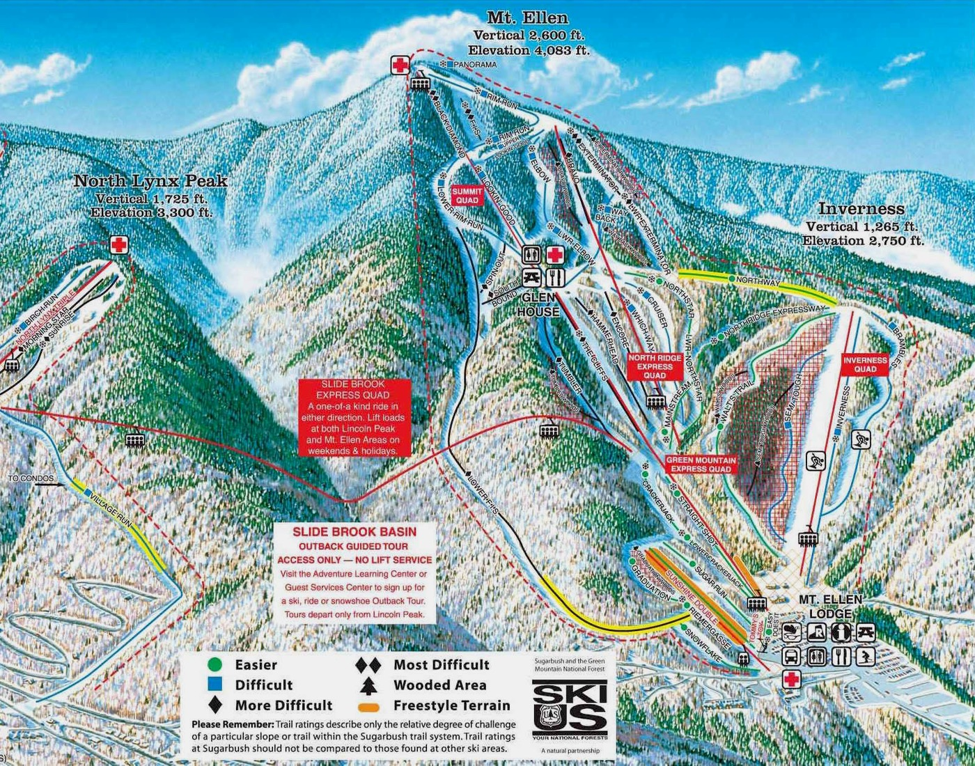 Sugarbush Resort trail map Mount Ellen