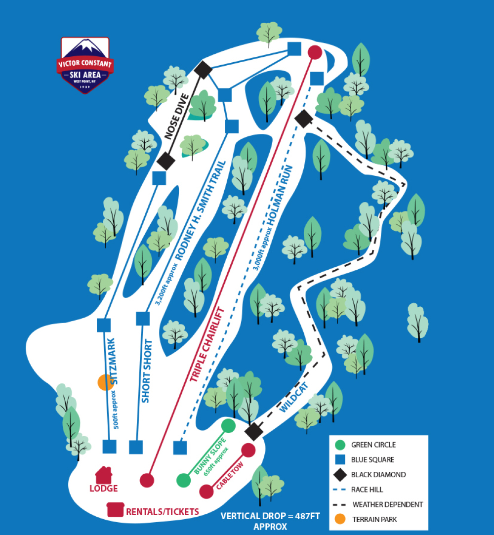 West Point Ski Slope trail map