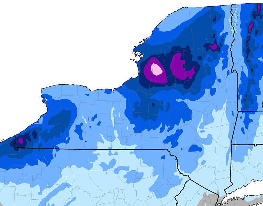 NWS NY State Average Snowfall Data NY Ski Blog - Average annual snowfall map us