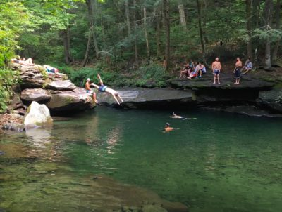 swimmers at blue hole