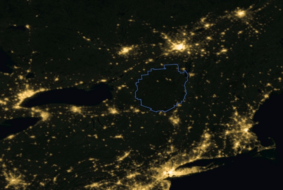Adirondacks from Space at Night