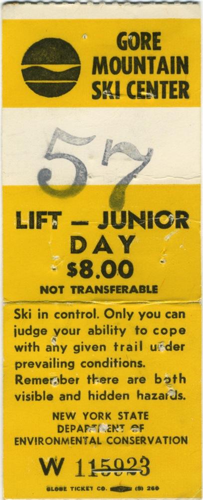 gore mountain lift ticket 1975