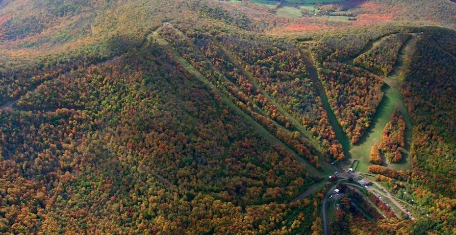 Plattekill Mountain fall aerial photo