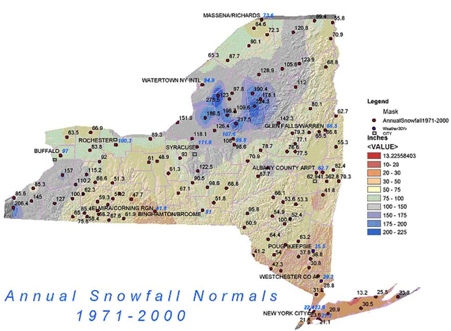 average annual snowfall new york state
