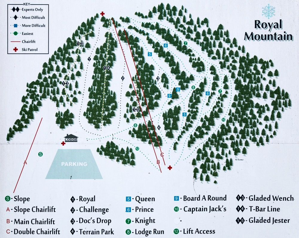 Royal Mountain trail map