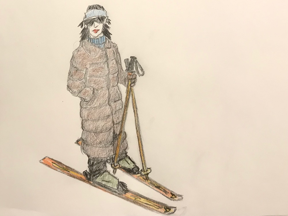 skiing in a fur