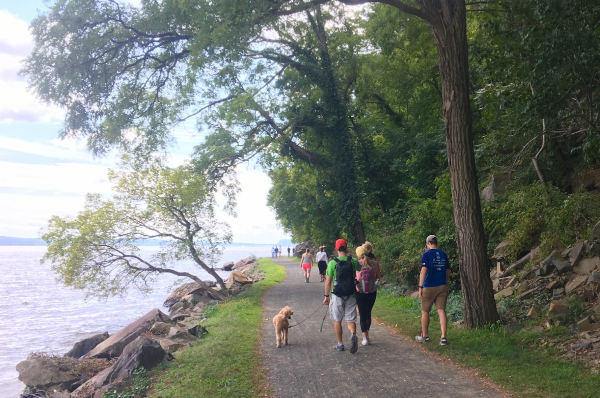walking the dog at Nyack Beach State Park