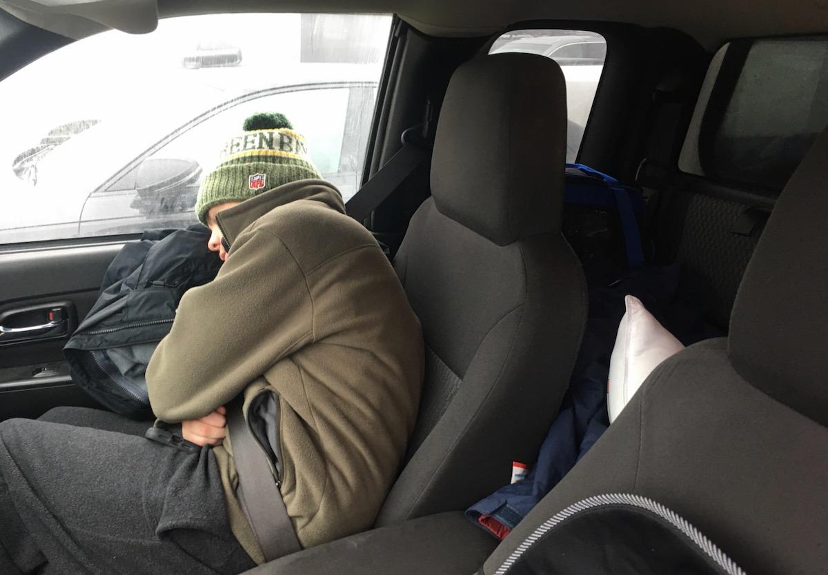 sleeping skier