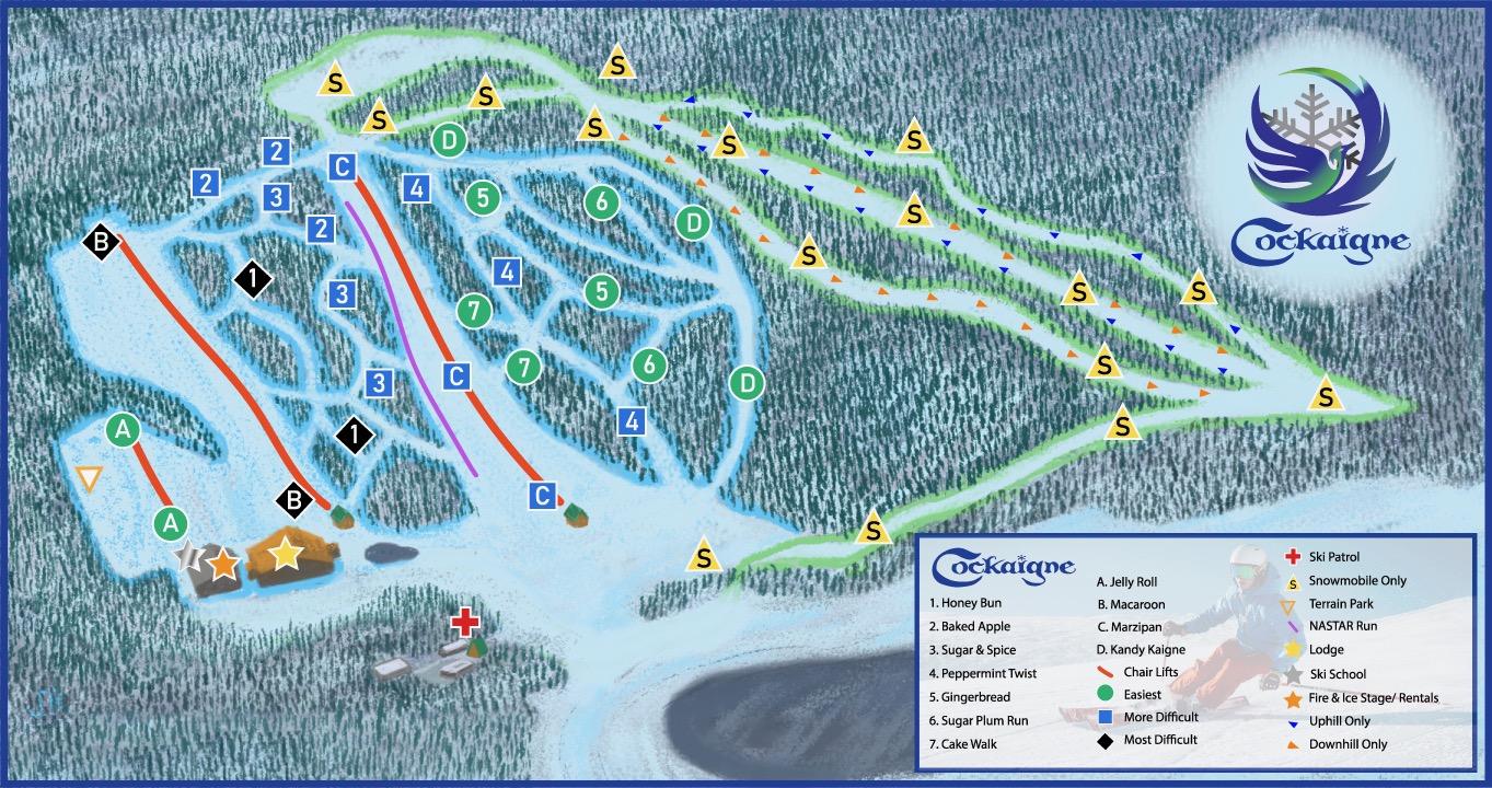 Cockaigne Ski Resort trail map