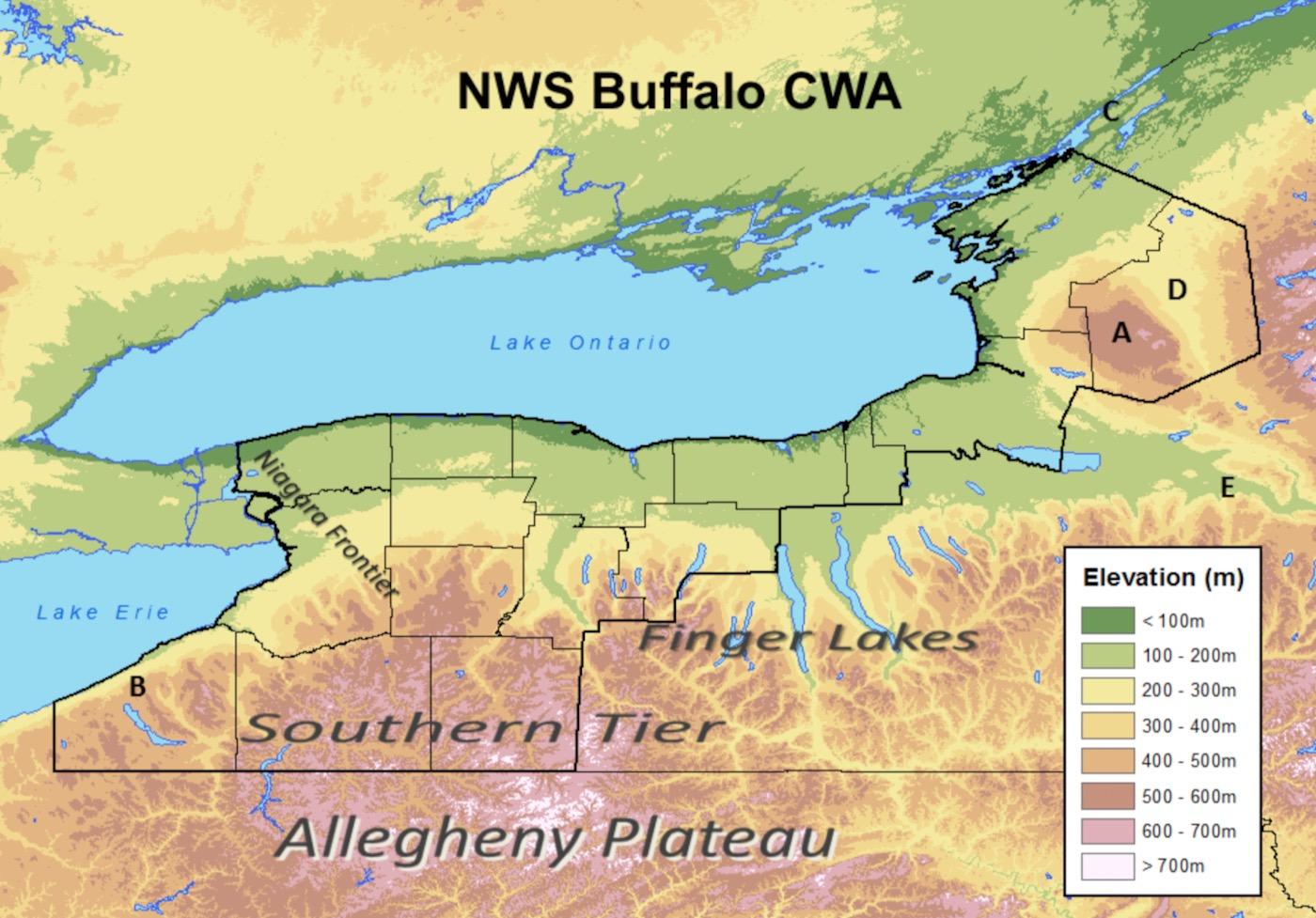 NWS BUF CWA elevations