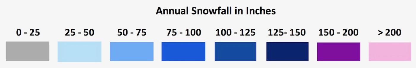 New York state snowfall map key