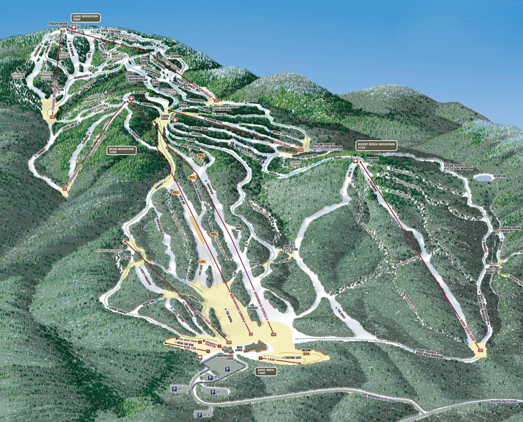 Gore Mountain trail map
