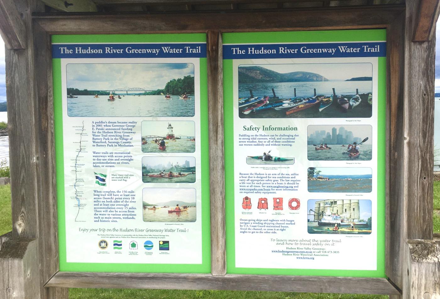 Hudson River Greenway Water Trail map