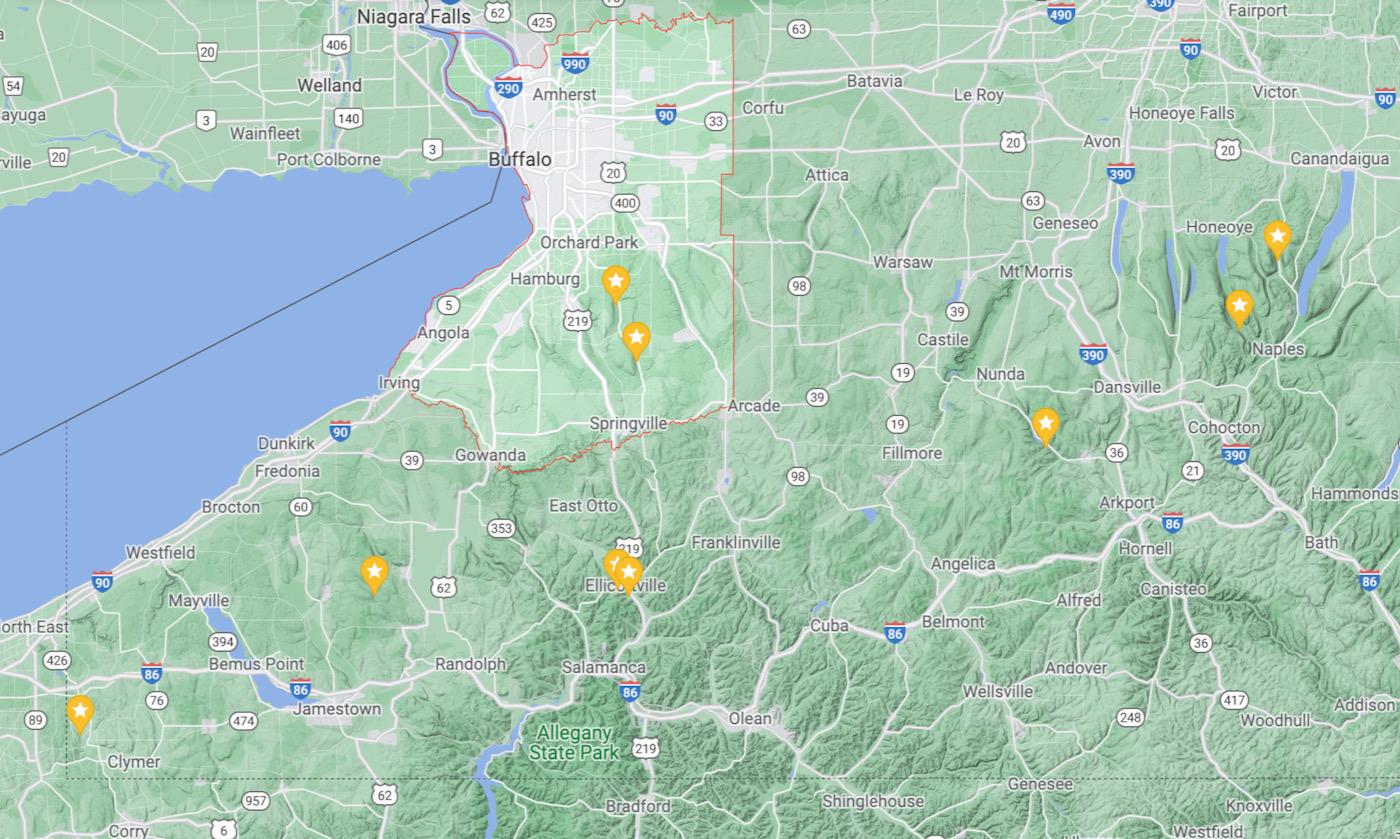 Western NY ski area map
